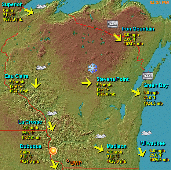 Map of Weather Conditions Around Wisconsin