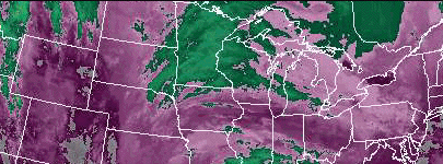 Infrared satellite image of cloud height